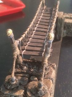 How to build a Rope Bridge Dungeon Tiles, Dungeon Maps, Dungeons And Dragons Miniatures, Hirst Arts, Warhammer Terrain, Medieval Houses, Wargaming Terrain, Mini Craft, Miniature Crafts