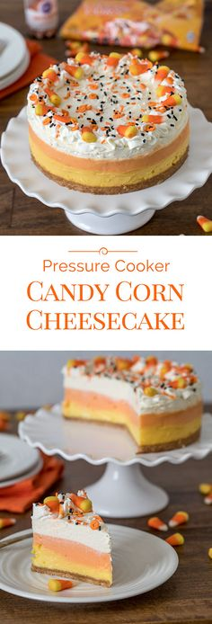 A luscious, easy-to-make Pressure Cooker / Instant Pot Candy Corn Cheesecake sweetened with honey.This fun tri-colored Halloween dessert is the perfect Halloween treat.