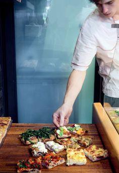 """""""Roman-style pizza al taglio gets a creative makeover at Pizzarium."""" in Rome."""