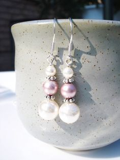 Bridesmaid earrings, Sterling silver, Swarovski pearls stacked Wedding Jewelry Bridal party gift Dangel drop Purple lavender Pink Grey Ivory...