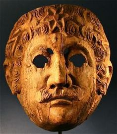 Hand Carved Spanish Antique Decorated Folk Art Wood Mask