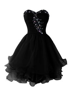 Dressystar Short Homecoming Dresses Sweetheart Prom Party Gowns Lace-up Back | Black