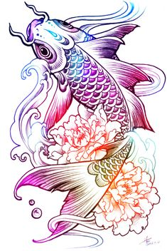 carp peony tattoo sketch