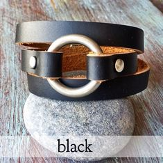 Leather Wrap Bracelet 6 Colors Leather Bracelet O Ring Etsy brown colored o-rings - Brown Things Leather Cuffs, Leather Necklace, Leather Jewelry, Brown Leather, Layered Jewelry, Layered Bracelets, Loose Fit, Cocoa, Derby