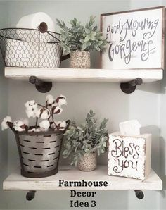 Floating shelves in a farmhouse style bathroom - Clutter-free Farmhouse Decor Ideas #clutterfree