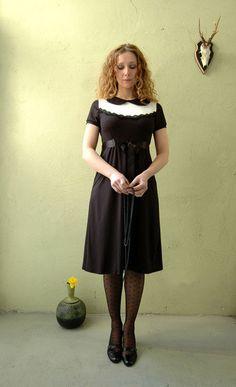 "Elegant Dress ""Florence"" in black-cremewhite"