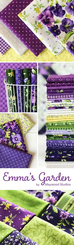 Emma's Garden is a purple floral collection by Debbie Beaves for Maywood Studio available at Shabby Fabrics