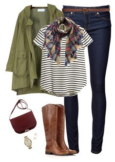 """Anorak jacket, striped top & plaid scarf"" by steffiestaffie ❤ liked on Polyvore featuring Naked & Famous, H&M, Sole Society, Henri Bendel and Michael Kors"