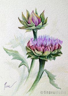 Artichoke watercolor painting. Original watercolor by TinaVuStudio