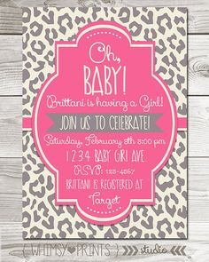 baby girl shower invitation pink grey leopard cheetah baby shower invite digital printable party invite 11