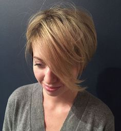 Soft layered pixie with long side bangs by Katie Sanchez