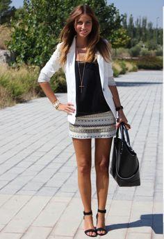Tribal skirt + white blazer + black top
