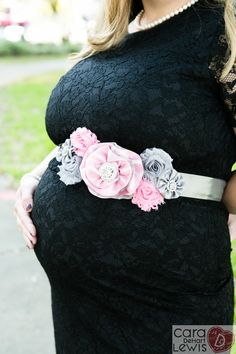Pink and gray maternity sash. The Clarissa by ElegancebyElesha. Use coupon code: PIN10 for 10% off of the price of 28.95.