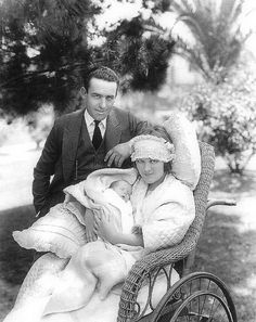Harold Lloyd and Mildred Davis Lloyd with their newborn daughter Mildred Gloria