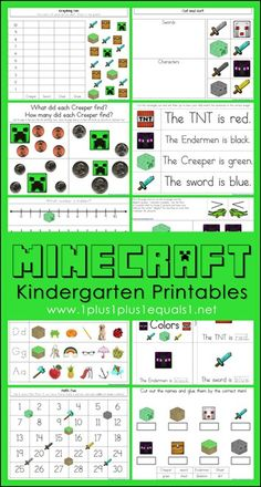 FREE Minecraft Kindergarten Printables ~ Literacy and math skills with a Minecraft theme!