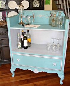 Popular Kitchen Storage Ideas and What They Cost Create a unique piece for entertaining guests with this upcycled dresser bar tutorial.Create a unique piece for entertaining guests with this upcycled dresser bar tutorial. Refurbished Furniture, Repurposed Furniture, Furniture Makeover, Painted Furniture, Dresser Repurposed, Repurposed Wood, Distressed Furniture, Furniture Projects, Furniture Making