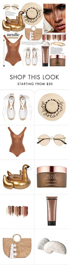 """""""you're golden : metallic swimwear"""" by anoo17k ❤ liked on Polyvore featuring August Hat, Zimmermann, The Row, Sunnylife, Estée Lauder, tarte, St. Tropez and JADE TRIBE"""
