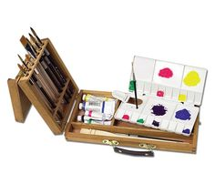 Includes a carrying handle, brass plated hardware and a folding plastic watercolor palette.