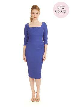Cara ¾ Sleeves Cobalt Day Dress