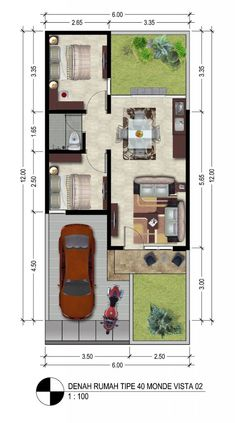 Amazing Beautiful House Plans With All Dimensions - Engineering Discoveries Little House Plans, 2bhk House Plan, Small House Floor Plans, Model House Plan, House Layout Plans, House Layouts, 40x60 House Plans, Japan House Design, Modern Small House Design