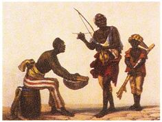 """Slave playing berimbau"",  Picturesque and historic trip to Brazil . Paris: Firmin Didot and Fréres 1824 ."
