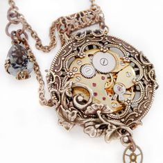 Steampunk necklace Victorian pocket watch style by Federikas, $95.00