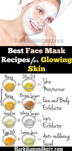 Best face mask recipes for glowing skin: for skin moisturizer, get rid of acne scars, and body exfoliator,  lips exfoliator, and anti-reddening facial. #acne #facemask #skincare