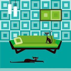 kerry berry - loads of cool mod prints Mid Century Art, Mid Century Modern Design, Kitsch, Mosaic Designs, Retro Art, Artist Art, Cool Cats, Cat Art, Mid-century Modern