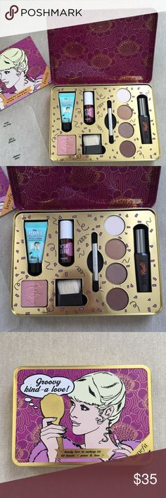 BENEFIT Groovy Kind-a-Love Makeup Kit Brand new never used. Container has small dent at front though but nothing wrong with products inside. 1 matte and 3 shimmer shadows. No box. Benefit Makeup Eyeshadow