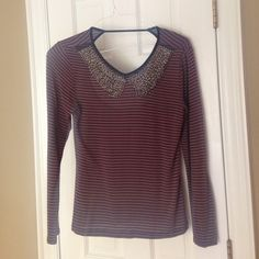 Beaded Peter Pan collar top, brown w/black stripes Beaded collar and sheer stretch knit  would be cute with black maxi skirt or satin pants for an evening out.  Back has cutout but not so low you'd need strapless bra. Zen Spell Tops Blouses