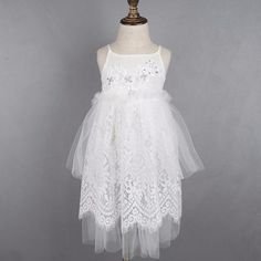 Evelyn Dress- toddler/girl white long dress with lace/tulle skirt and beading details to the bodice