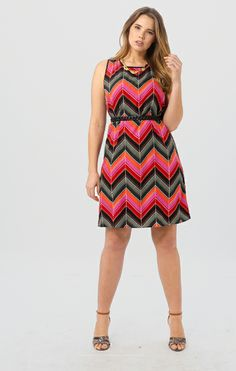 Multi Color Chevron Shift Dress by Postcards,Available in sizes 10/12,14/16,18/20,22/24,26/28 and 30/32