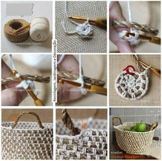 diy crochet rope basket --make sure to chain in between sc's (enough to match the length of rope in between), increasing number of chains as the diameter increases in size. Crochet Diy, Crochet Rope, Crochet Basics, Crochet Crafts, Yarn Crafts, Tutorial Crochet, Diy Crafts, Yarn Projects, Crochet Projects