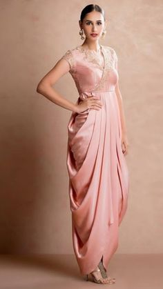 Popular Dresses To Wear To A Wedding, Popular Dresses To Wear To A Wedding Latest Popular Indian Wedding Dress Outfits Women Dhoti Style Gown Pink popular dresses to wear to a wedding Style indian Dresses To Wear To A Wedding, Indian Wedding Outfits, Indian Outfits, Drape Gowns, Draped Dress, Drape Sarees, Indian Designer Outfits, Designer Dresses, Dress Outfits