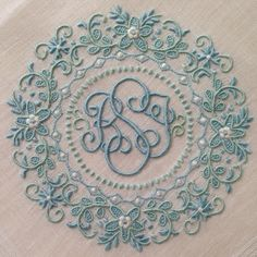 An ornate monogram! Embroidery Letters, Embroidery Fonts, Embroidery Applique, Beaded Embroidery, Cross Stitch Embroidery, Monogram Design, Monogram Fonts, Textiles, Monogram Towels