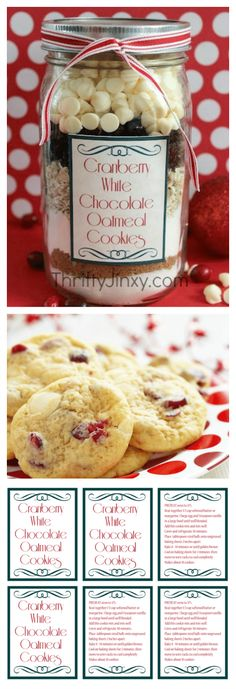 Cranberry White Chocolate Oatmeal Cookie in a Jar Recipe with FREE Printable Lab. - Cranberry White Chocolate Oatmeal Cookie in a Jar Recipe with FREE Printable Labels – A fun gift - Oatmeal Cookies In A Jar Recipe, Mason Jar Cookie Recipes, Mason Jar Cookies, Mason Jar Meals, Mason Jar Gifts, Meals In A Jar, Jar Recipes, Gift Jars, Cookie In A Jar