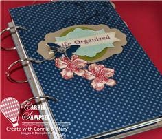 This is my Preview Week Project for Create with Connie and Mary.  The organizer has all sorts of dividers, pockets and pages.  I used the Everything Eleanor Stamp Set through out the organizer.  For a link to the FREE tutorial and printable pages and more details visit me at http://www.carriesscrapyard.com/2012/06/everything-eleanor-life-organizer-and.html