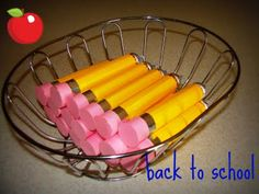 "Back to school pencils... (made out of tube of ROLO's)....would be fun to give my YW girls for ""back to school"" encouragement!"