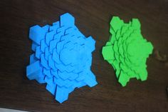 blue & green spread hex tesselation by jo nakashima - folded by me :)
