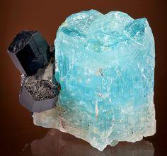 "Hexagonal dihexagonal dipyramidal Beryl var. Aquamarine crystal with tourmaline Schorl rom the Erongo Mine, Namibia, SW Africa - Be3Al2Si6O18 - From the ancient Greek, beryllos, signifying a ""precious blue-green color of sea water"" stone."
