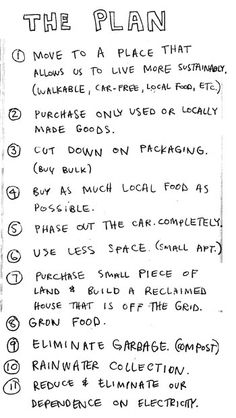 A plan for change (by Keri Smith) (might not be able to phase out trucks or vans, but i won't use em often hahaha)