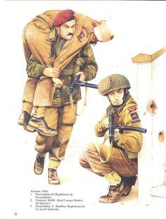 "BRITISH ARMY - Arnhem, 1944 - 1. Paracadutista, Reggimento Paracadutisti - 2. Tenente, RAMC  (Royal Army Medic Corp) - 3. Paracadutista del 2° Battaglione, Reggimento ""South Stafford"""