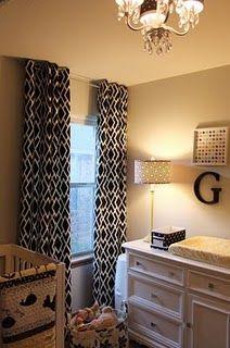 nursery - curtains, monogram, lighting