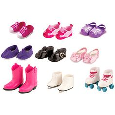 My Life As Doll Shoe Set, 9-Pack 2 pair each for abbey and Erika