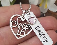 Personalized Sweet Sixteen Necklace | Sweet 16 Gift | Personalized Jewelry For 16th Birthday | Sweet 16 Necklace For Daughter Birthday 16