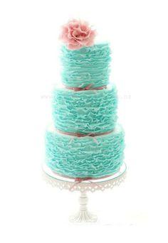 Romantic Turquoise Frilly Wedding Cake