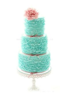 Romantic Turquoise Frilly Wedding Cake