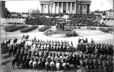 An event at the foreground of The Helsinki Cathedral - Tilaisuus Suurkirkon edessä, 1920.