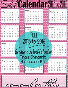 2015 - 2016 Petals School Year Calendar Collage  @ Tina's Dynamic Homeschool Plus