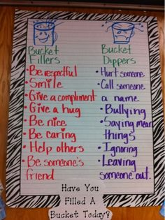 Each year I read the book 'Have You Filled A Bucket Today?' we go over bucket fillers and bucket dippers. The students leave little notes in...